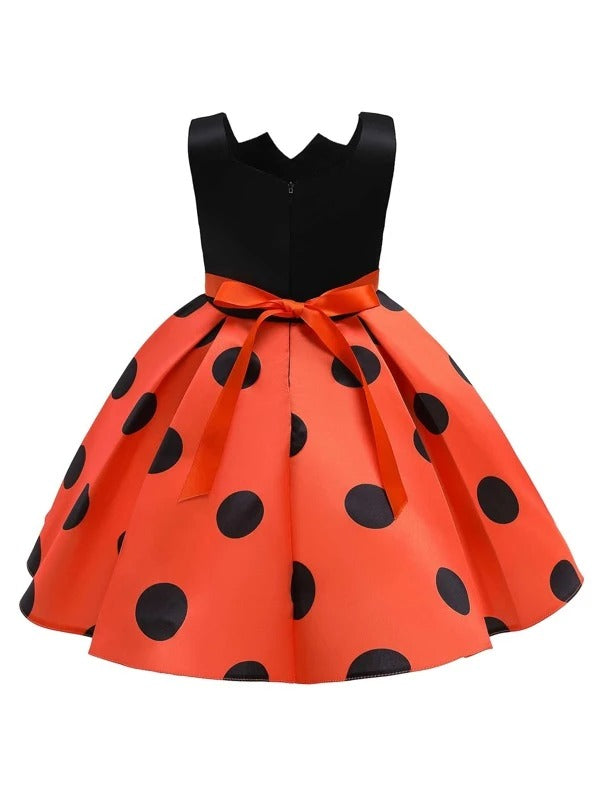 Girls Contrast Polka Dot Bow Front Gown Dress