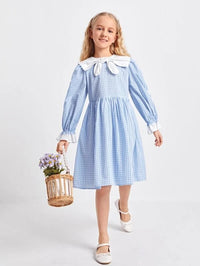 Girls Contrast Sailor Collar Flounce Sleeve Gingham Dress