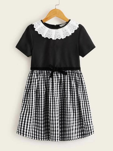Girls Contrast Schiffy Detail Combo Gingham Dress