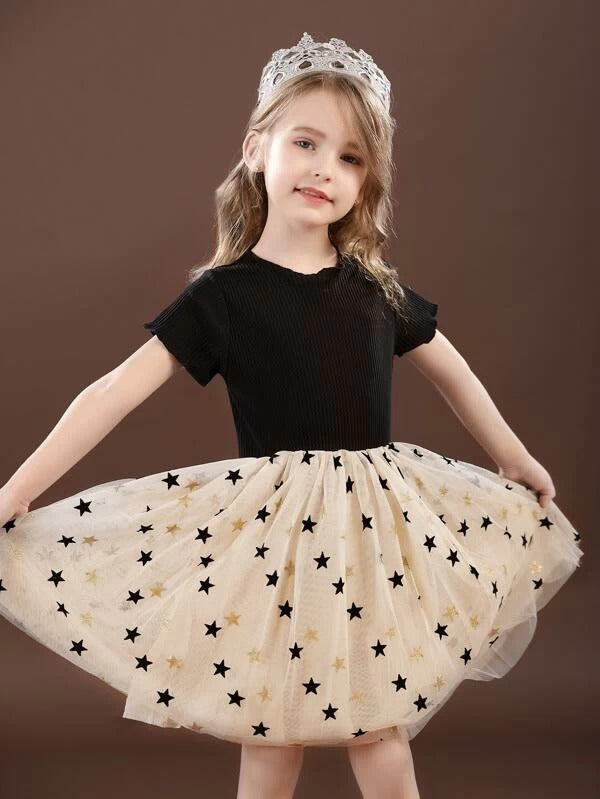Girls Contrast Star Mesh Combo Dress