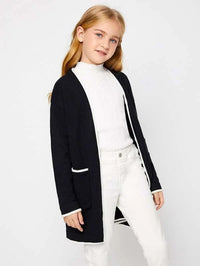 Girls Contrast Trim Drop Shoulder Cardigan