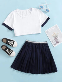 Girls Contrast Trim Tee With Pleated Skirt