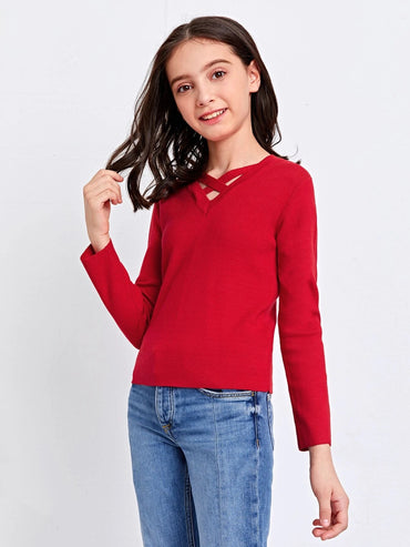 Girls Crisscross Detail Solid Sweater