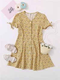 Girls Ditsy Floral Print Button Front Knot Cuff Dress