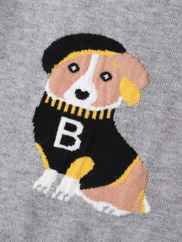 Girls Dog & Letter Graphic Sweater