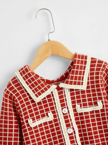 Girls Doll Collar Button Front Plaid Sweater Dress