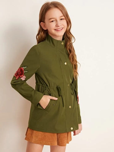 Girls Drawstring Waist Floral Patched Coat