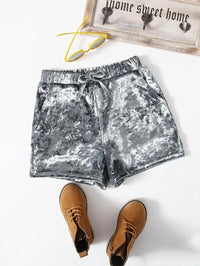 Girls Drawstring Waist Velvet Shorts