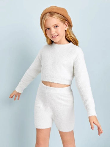 Girls Drop Shoulder Fuzzy Crop Sweater & Knit Shorts Set