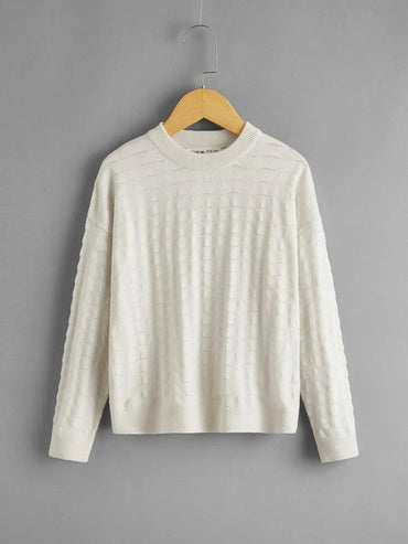 Girls Drop Shoulder Pointelle Knit Sweater