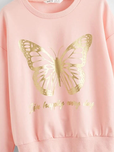 Girls Drop Shoulder Slogan & Butterfly Print Pullover