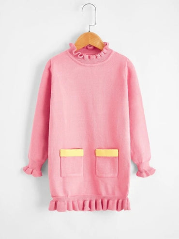 Girls Dual Pocket Frill Neck Sweater Dress