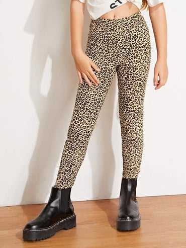 Girls Elastic Waist Leopard Leggings