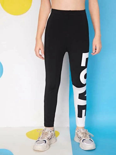 Girls Elastic Waist Letter Graphic Leggings