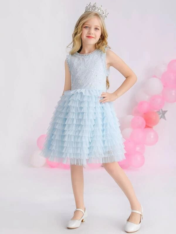 Girls Embroidered Bodice Bow Tie Back Layered Mesh Dress