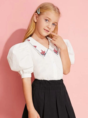 Girls Embroidered Collar Puff Sleeve Blouse