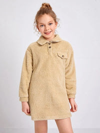 Girls Flap Detail Drop Shoulder Teddy Sweatshirt Dress