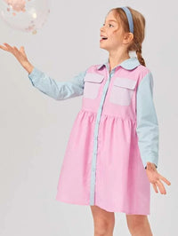 Girls Flap Pocket Colorblock Dress