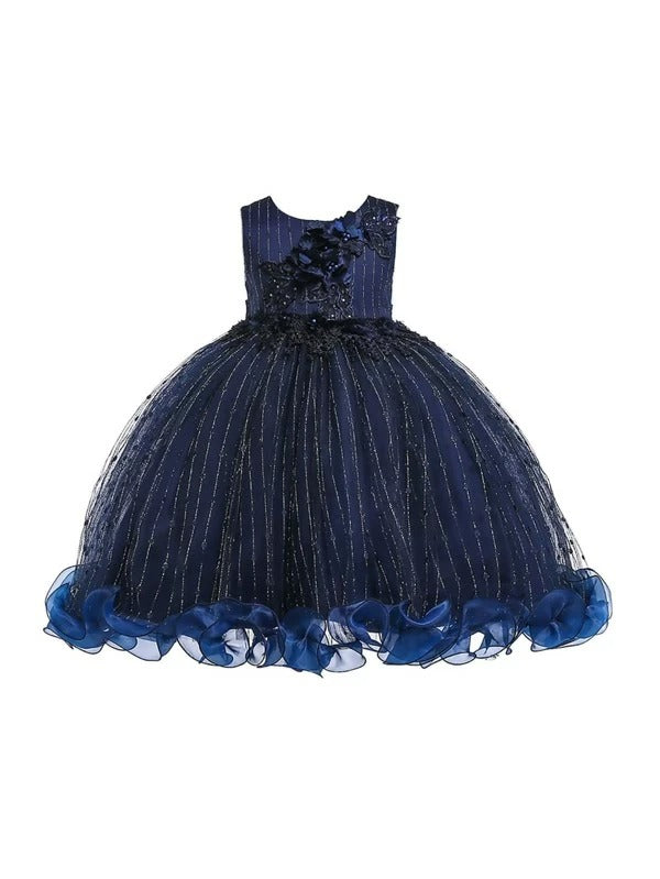 Girls Floral Applique Bow Back Ruffle Hem Party Dress