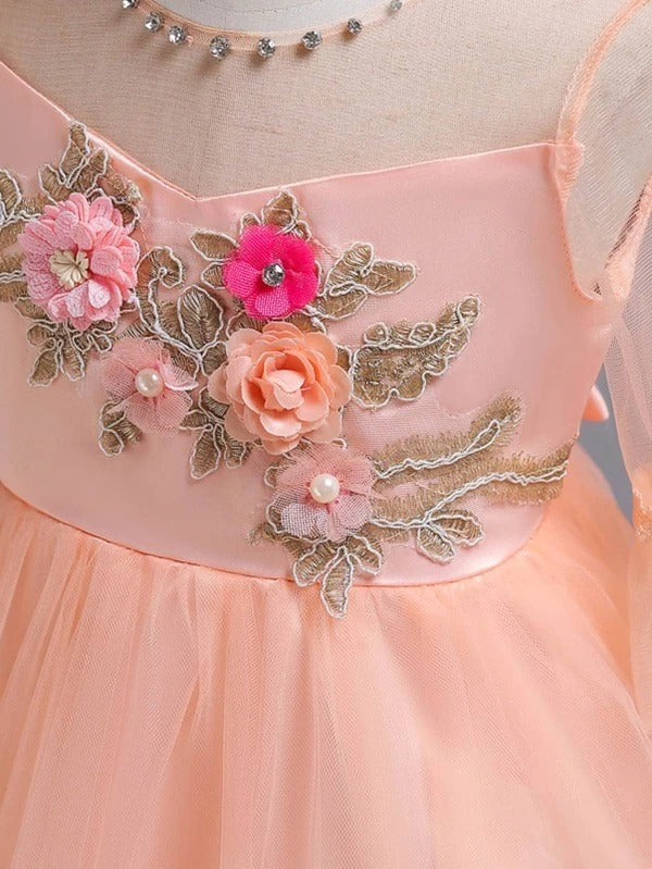 Girls Floral Appliques Bow Back Tutu Dress