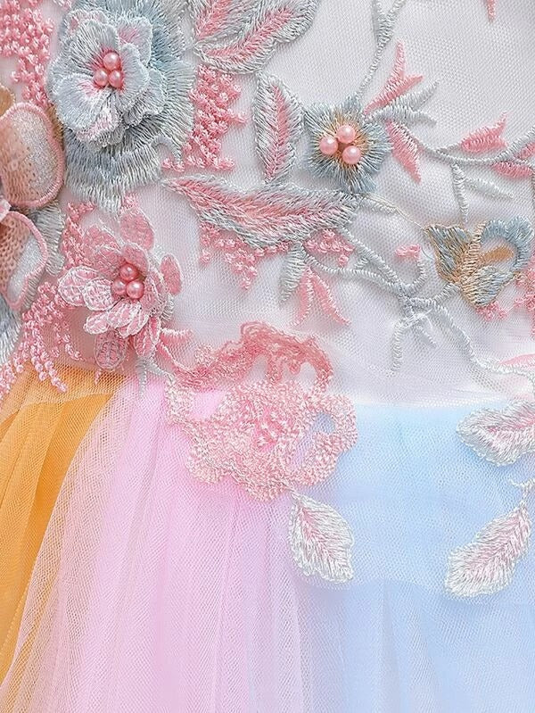 Girls Floral Embroidery Appliques Gown Dress