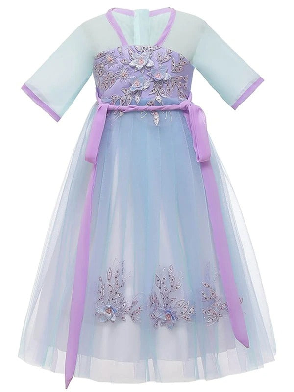 Girls Floral Embroidery Tie Front Hanfu Dress