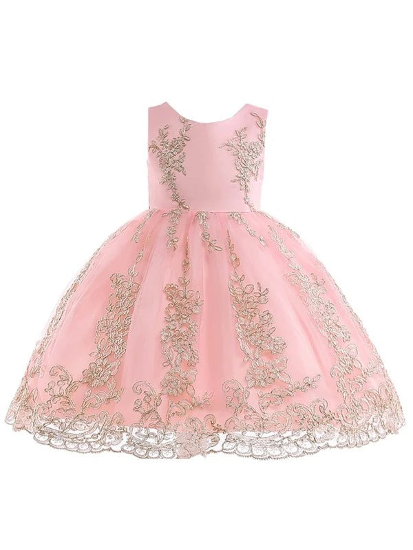 Girls Floral Random Embroidery Bow Back Gown Dress