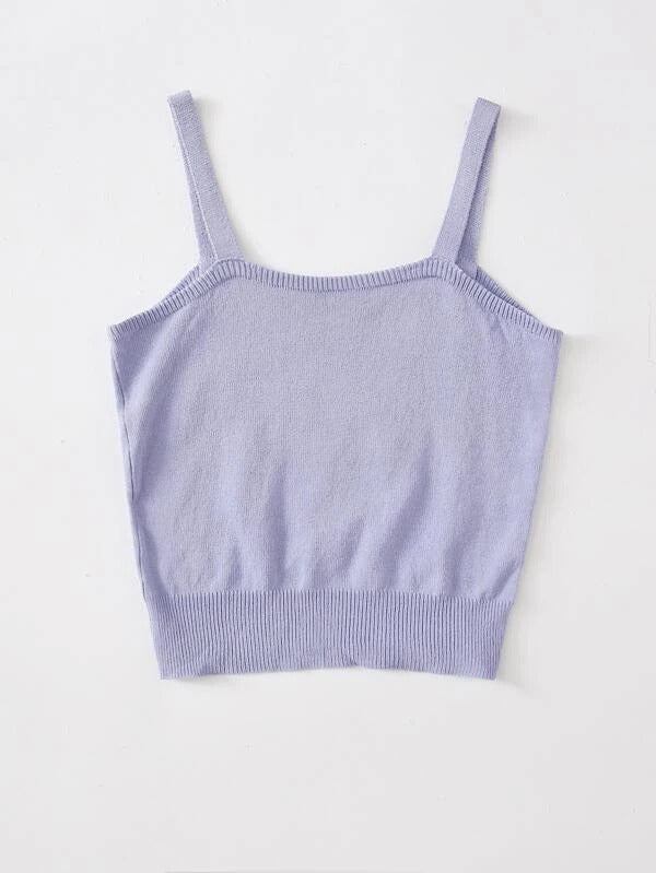 Girls Flower Knit Cami Top