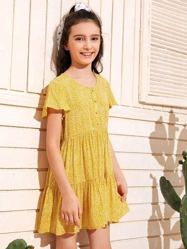 Girls Flutter Sleeve Buttoned Front Ditsy Floral Dress