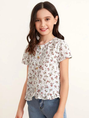 Girls Fold Pleated Detail Ruffle Hem Ditsy Floral Top