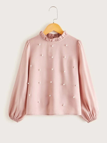 Girls Frill Neck Pearls Beaded Top