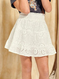 Girls Frill Shirred Waist Ruffle Hem Schiffy Skirt