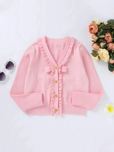 Girls Frill Trim Button Up Cardigan