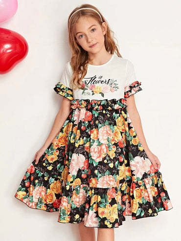 Girls Frill Trim Floral Print Ruffle Hem Dress