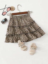 Girls Frill Trim Leopard Print Skirt