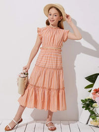 Girls Frill Trim Striped Top & Layered Skirt Set