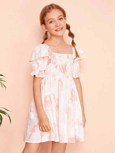 Girls Gather Sleeve Shirred Bodice Tie Dye Dress
