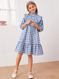 Girls Gingham Ruffle Hem Smock Dress