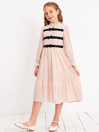 Girls Glitter Ruffle Neck Flounce Sleeve Bow Detail Dress
