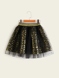Girls Glitter Striped Waist Mesh Overlay Gold Leopard Skirt