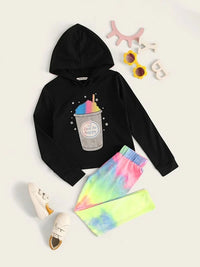 Girls Graphic Hoodie & Tie Dye Leggings Set