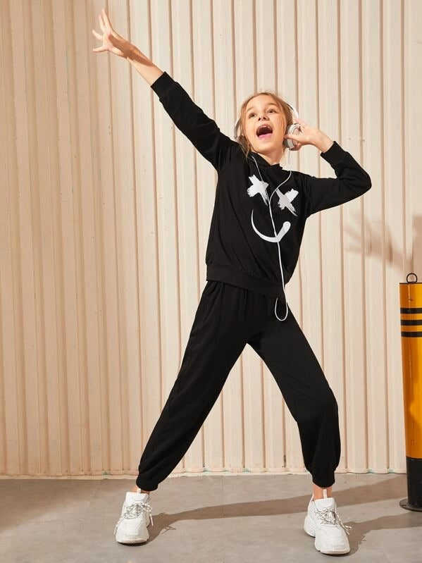 Girls Graphic Print Hoodie and Sweatpants Set