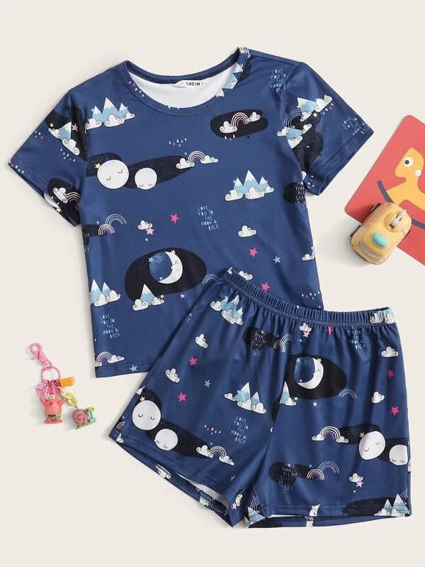 Girls Graphic Print Top and Shorts PJ Set