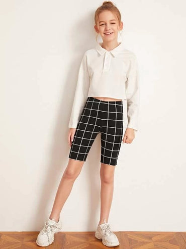 Girls Grid Biker Shorts