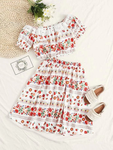 Girls Guipure Lace Trim Floral Bardot Top and Skirt Set