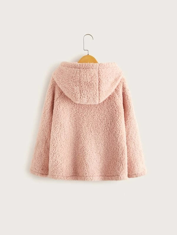 Girls Heart Patch Pocket Front Teddy Hoodie