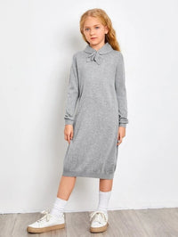 Girls Heather Gray Sweater Dress