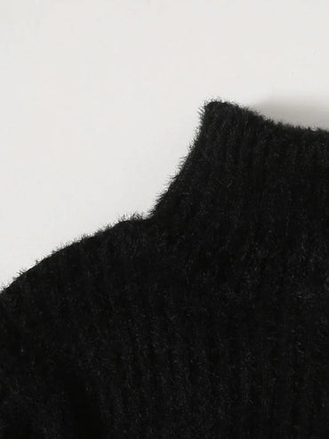 Girls High-neck Rib & Fluffy Knit Sweater Dress Without Bag