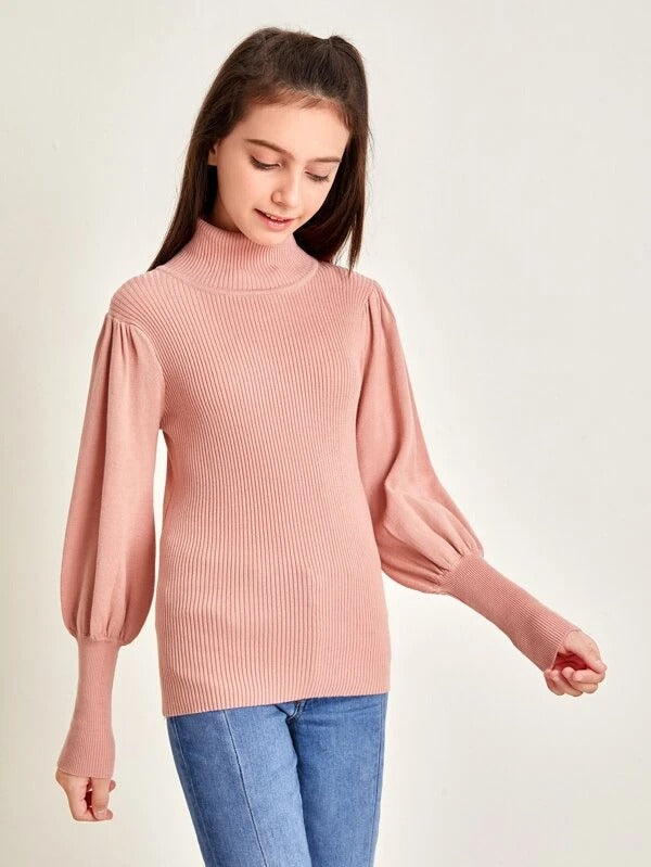 Girls High Neck Lantern Sleeve Sweater