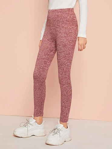 Girls High Waist Marled Knit Leggings